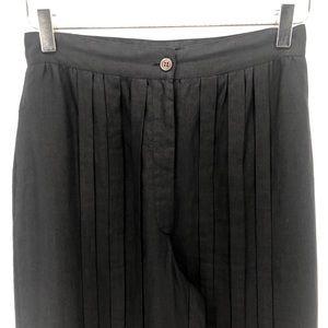 Linen Vertical Pleat Black Pants Italian Made